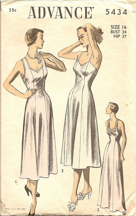 1950\'s Vintage Sewing Patterns Nightgown Slip Avance 5434 Bust 34 ...