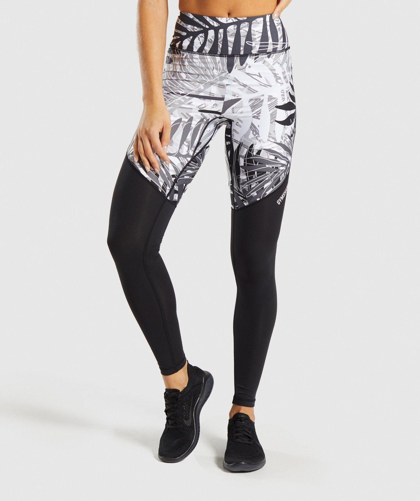 bc2836bbe7f5be Gymshark Paradise Leggings - Black/White in 2019 | Clothing | Black ...