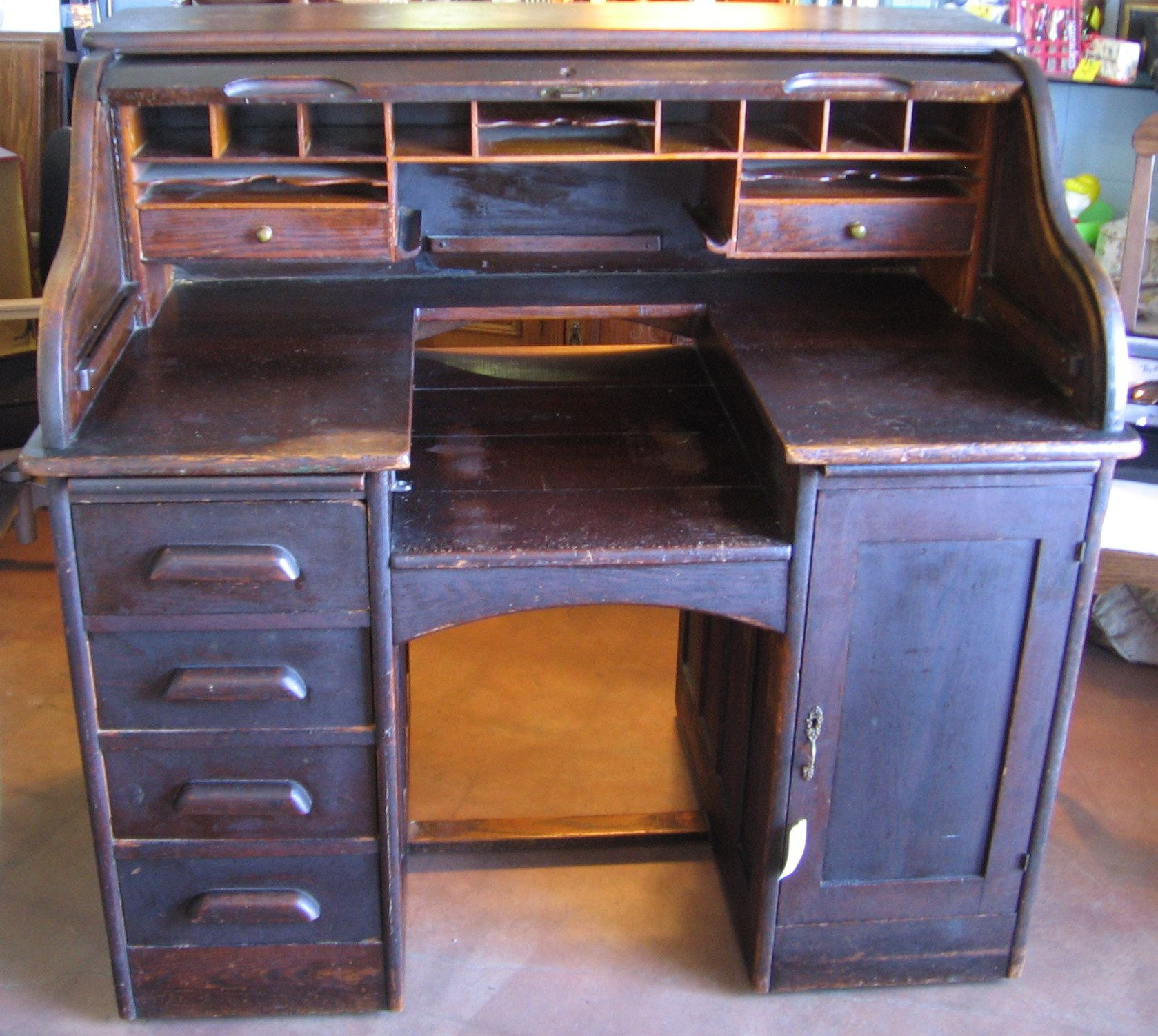 Unusual Antique Rolltop Desk With Cutout For Typewriter Roll Top Desk Home Goods Desk