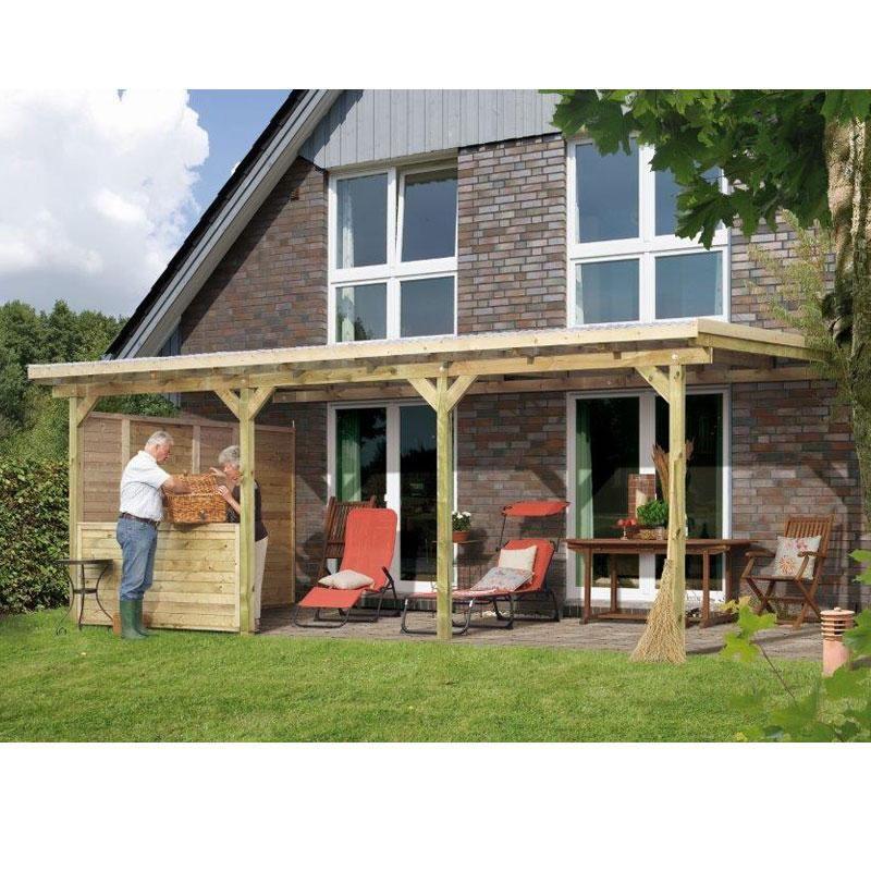 Toit de terrasse en bois massif avec panneau latéral et balustrade