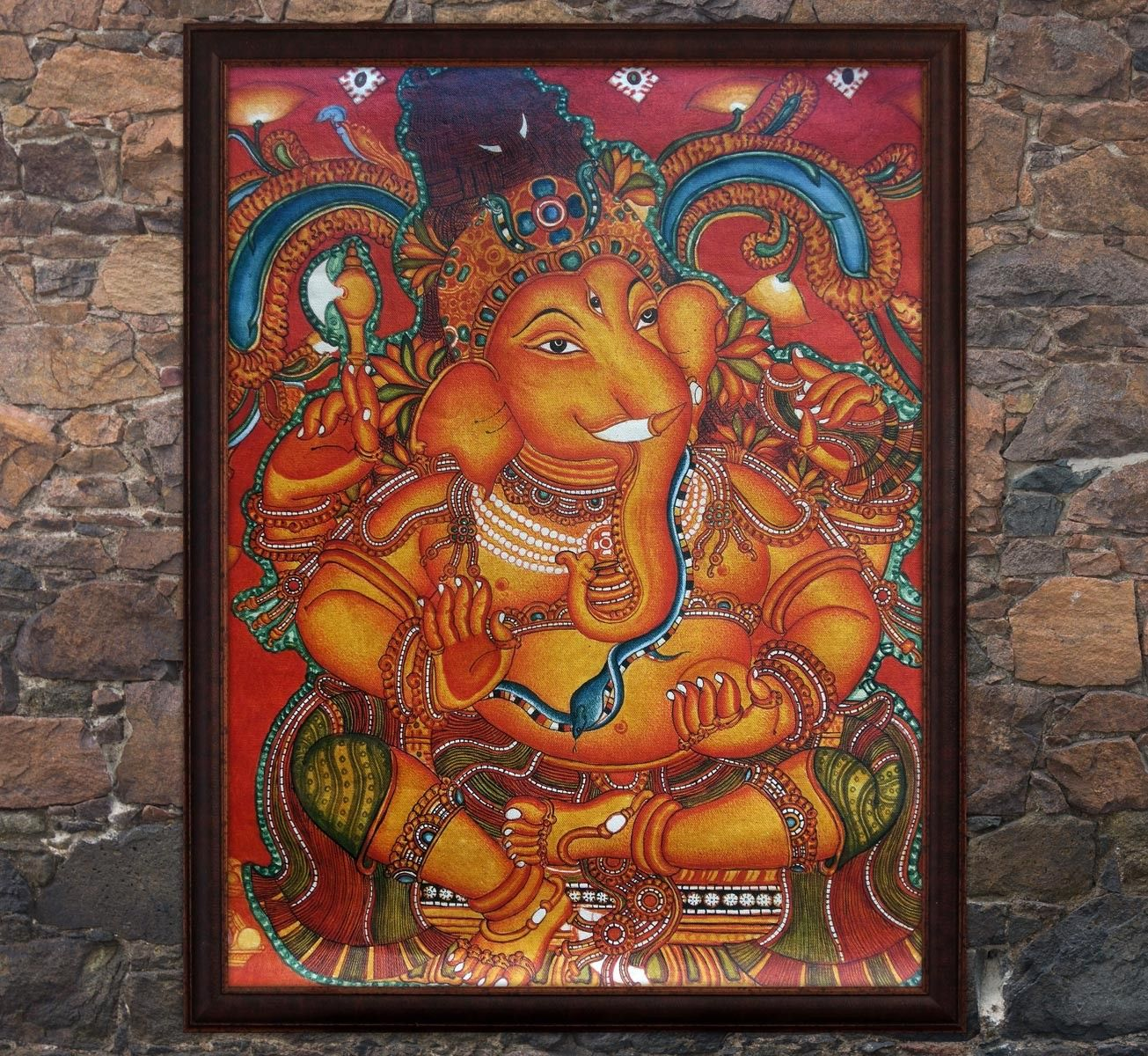 Mural painting lord ganesha graameen kerala mural for Mural art of ganesha