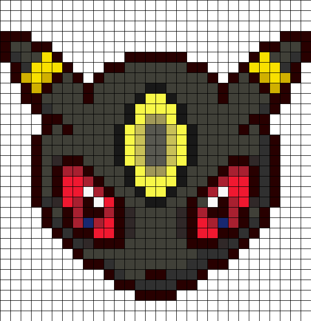 Umbreon head perler bead pattern bead sprites for Umbreon pixel art template