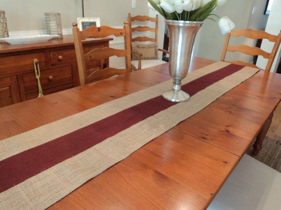 Burgundy And Natural Burlap Table Runner Holiday Table Runner Burgundy  Christmas Decor Burgundy Table Runner Wine