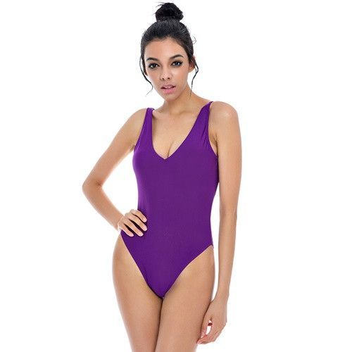 New Style Women Sexy Padded Sproty Backless v-Neck Candy Colors Orange One Piece Swimwear Body Buits Swimsuit S-XL NIO18