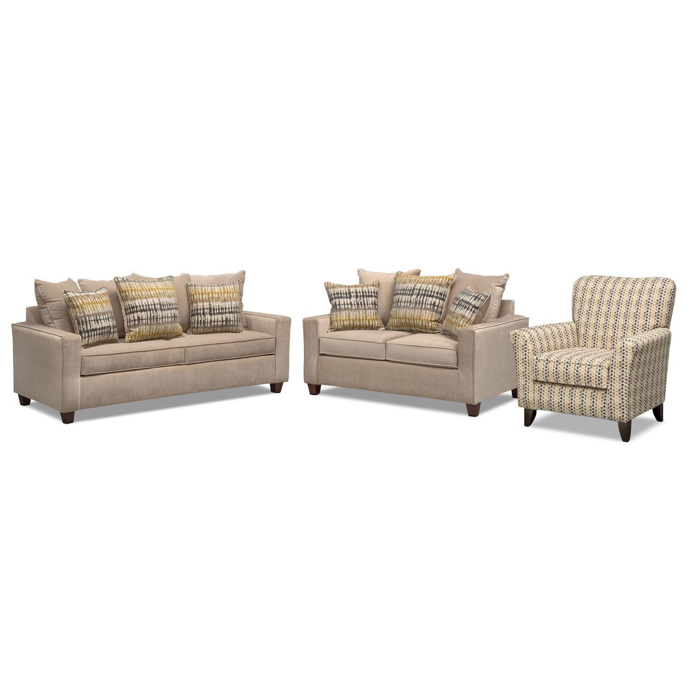 Bryden Sofa Loveseat And Accent Chair Set Beige