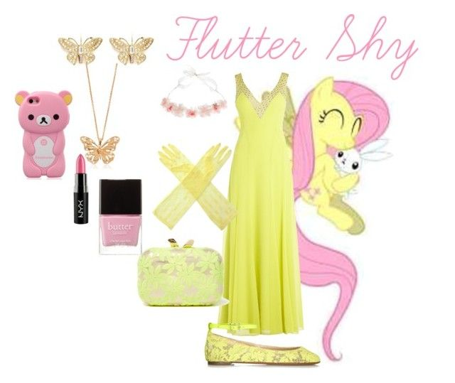 """""""Flutter Shy fancy outfit"""" by pinkie8 ❤ liked on Polyvore featuring BCBGMAXAZRIA, Valentino, Maison Michel, KOTUR, Kenneth Jay Lane, Alexander McQueen, NYX and Butter London"""