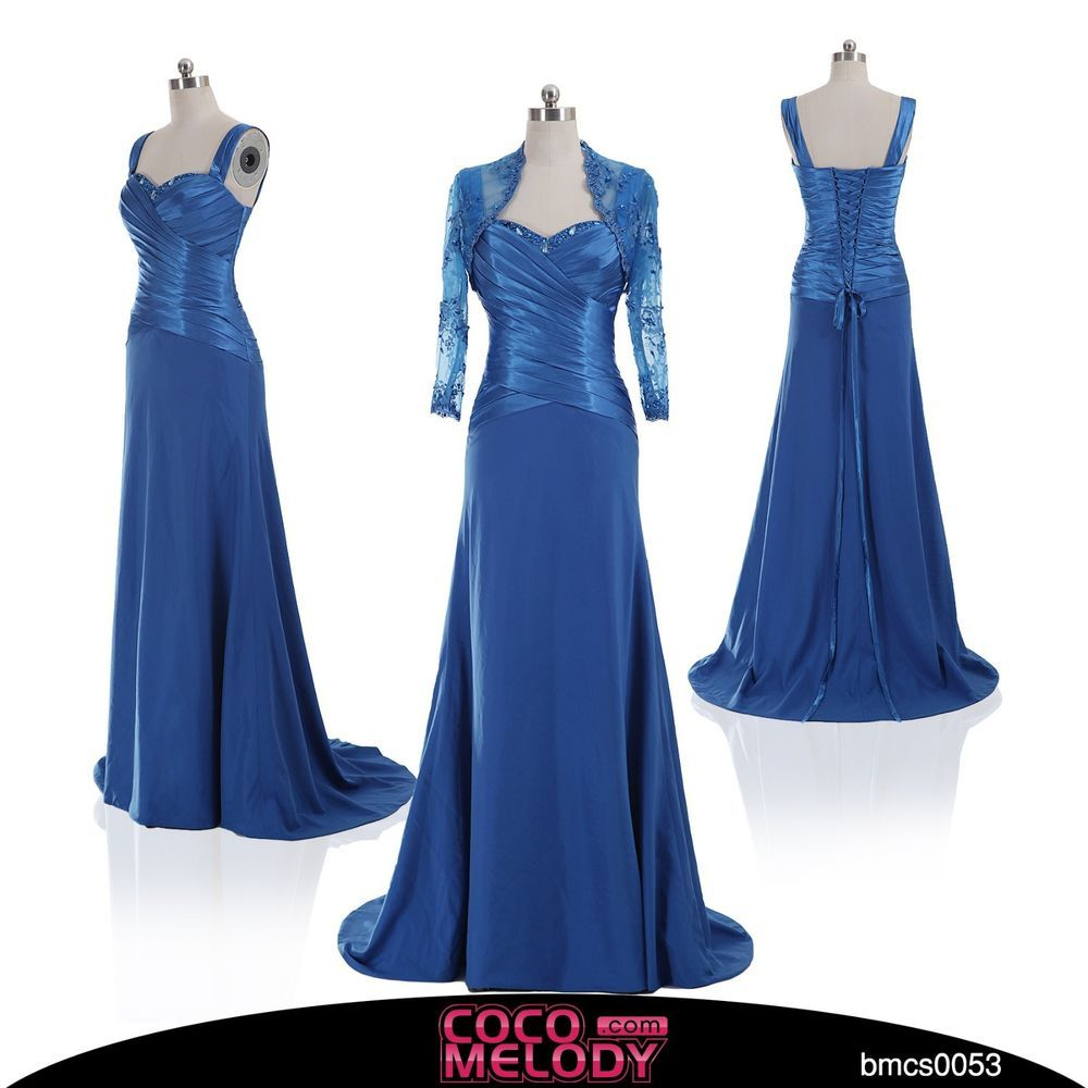 Royal blue long bridal party gown lace mother of the bride dress