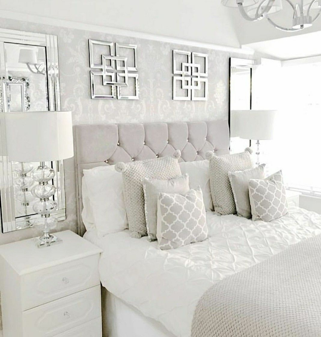 White glam bedroom home in 2019 decoracion de muebles - Grey white and silver bedroom ideas ...