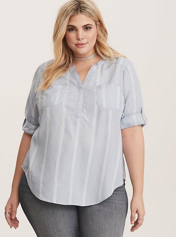 a0cb5f12e3fca2 Harper - Blue & White Stripe Georgette Pullover Blouse | Outfits ...