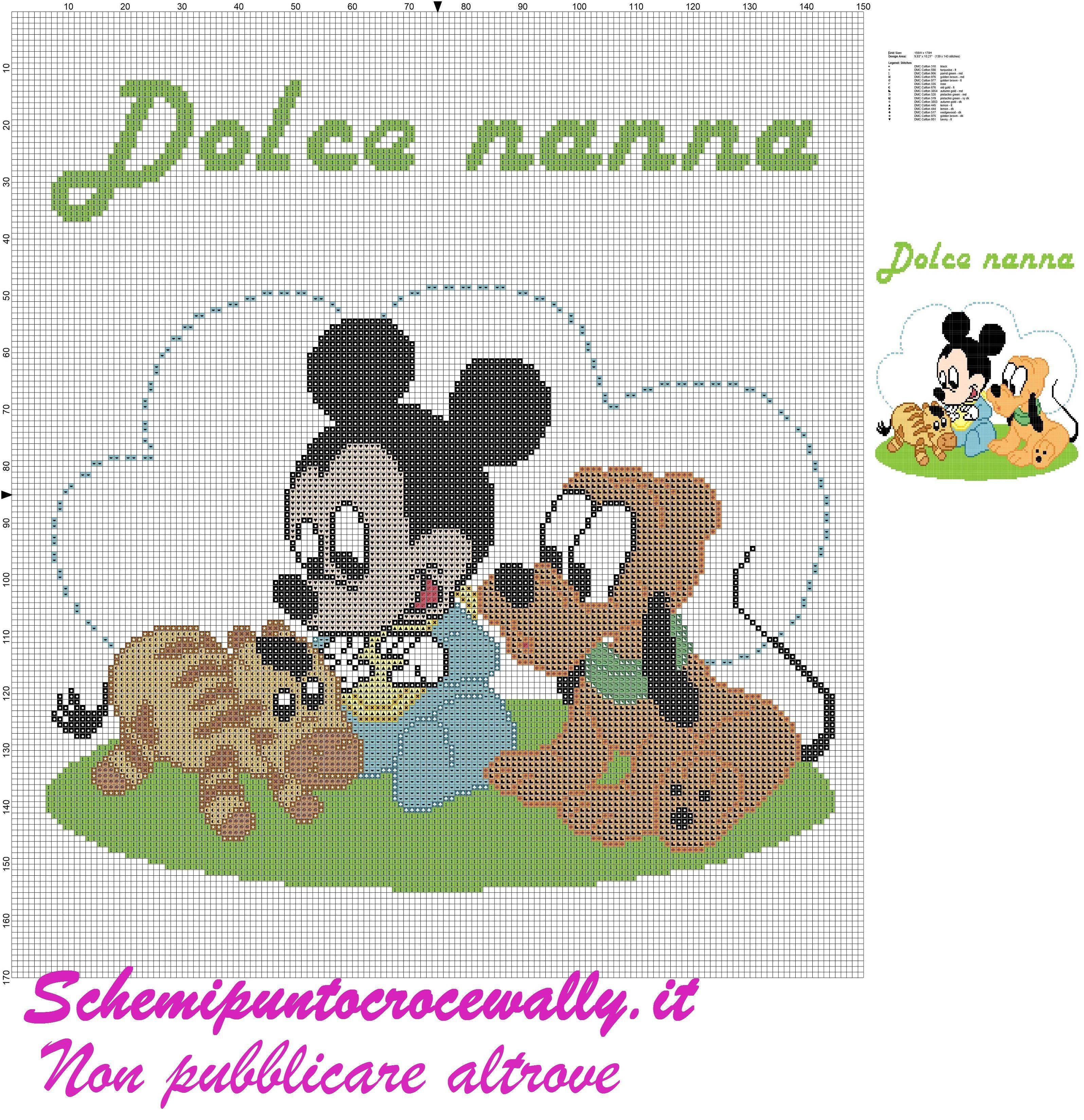 Baby topolino pluto e zebra schema punto croce per for Copertine punto croce bimbi schemi