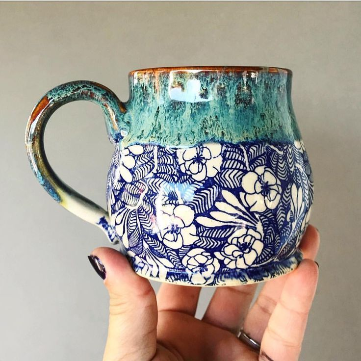 Blue Flower Handmade Pottery Mug | Handmade ceramics, cups#blue #ceramics #cups #flower #handmade #mug #pottery