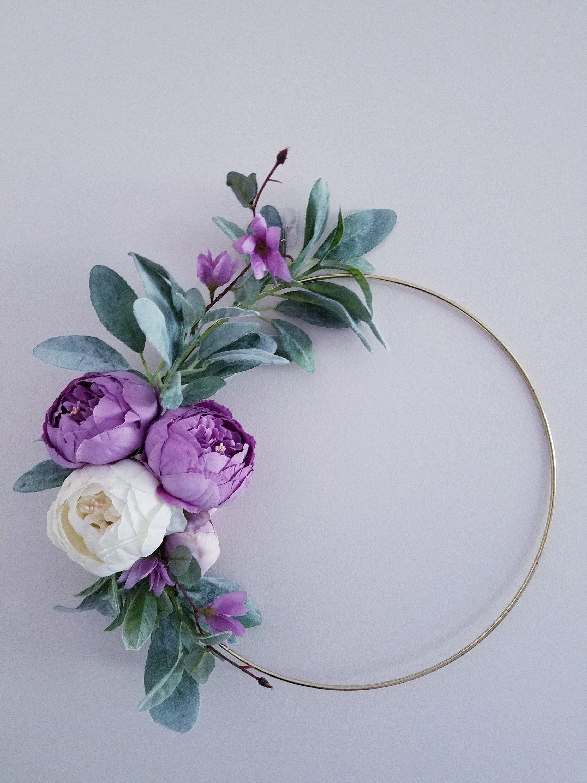 Photo of Modern wreath for front door, gift for mother, hoop wreath, nursery decor