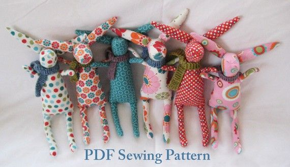 SO easy and cute. Make a whole Rabbit family while the snow piles up outside. Use up that fabric stash pile!