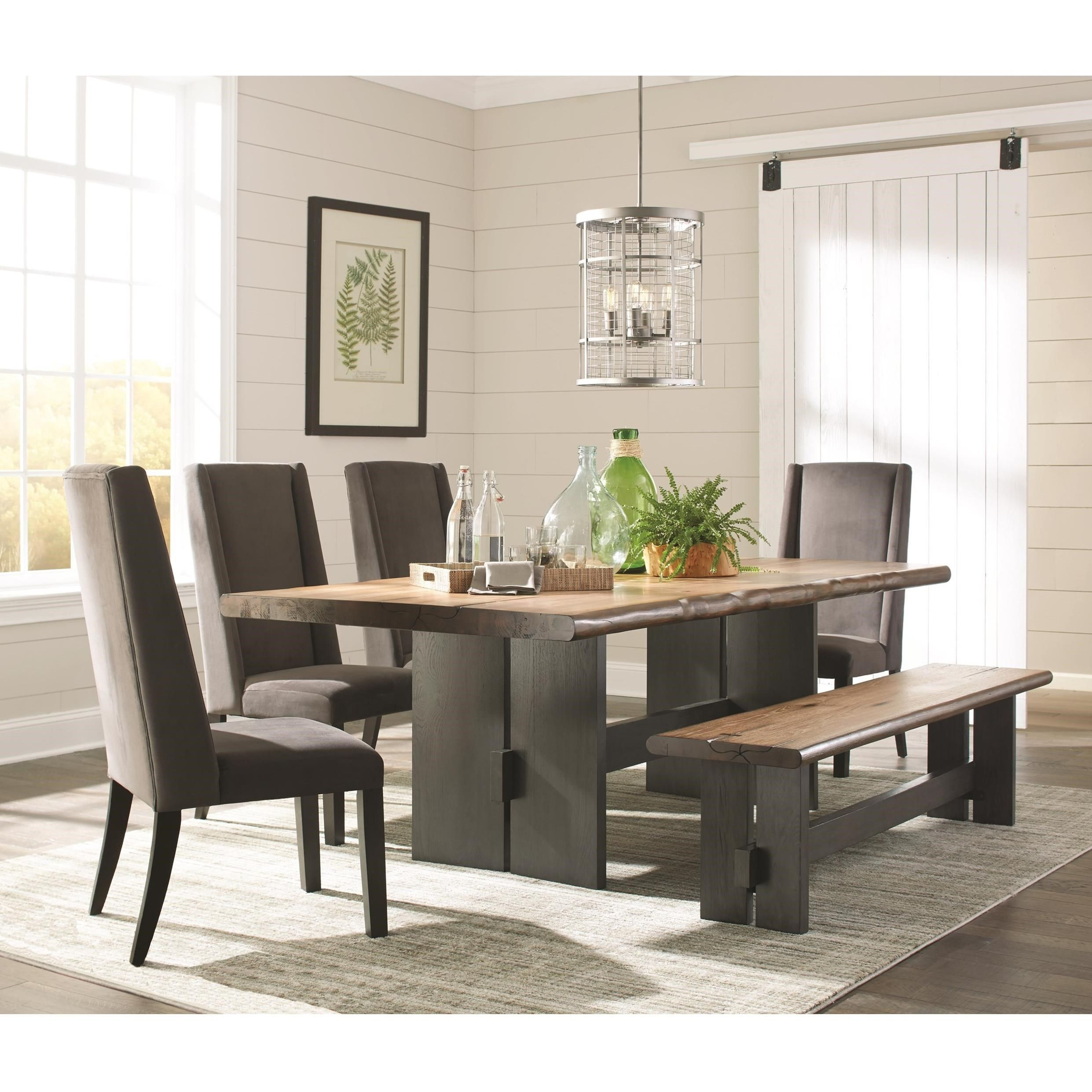 Scott Living Marquette Live Edge Dining Table Set with ...