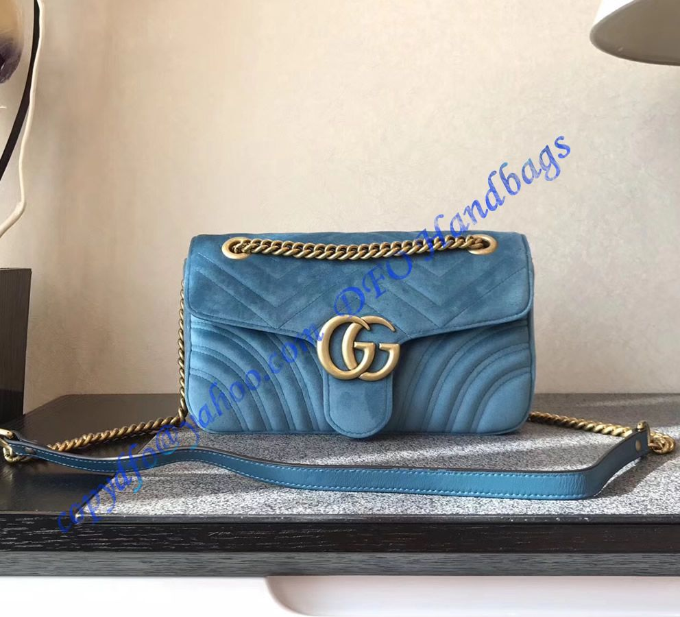 704f522a21a Purchase online a Gucci Small GG Marmont Blue velvet shoulder bag at  discounted price- USD 348. Free Worldwide Shipping by courier.