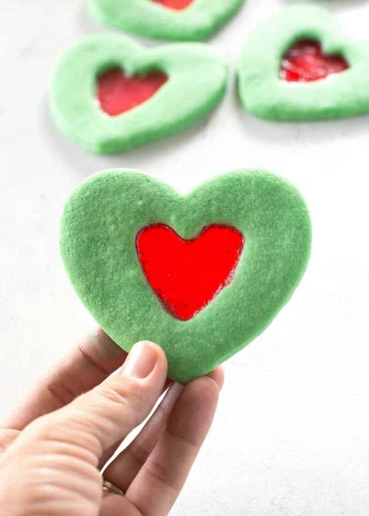Grinch Heart Cookies #grinchcookies
