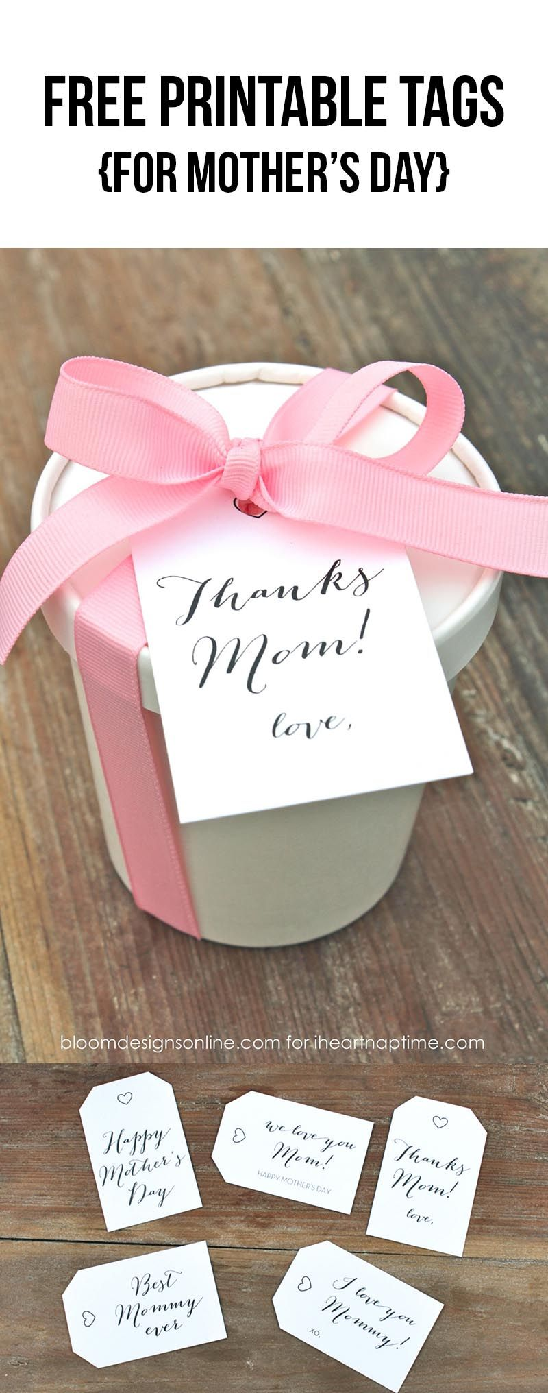 Free printable tags for Mother's Day - so cute and simple!