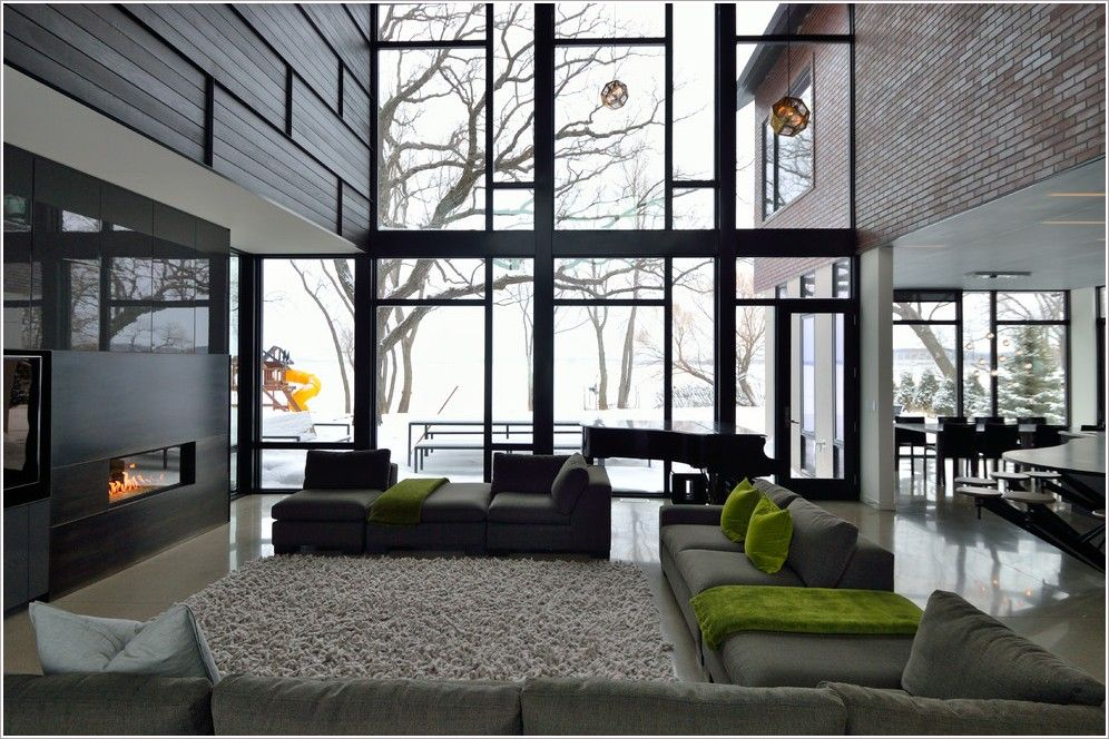 Minneapolis brick curtain wall gas fireplace glass green for Industrial windows for homes