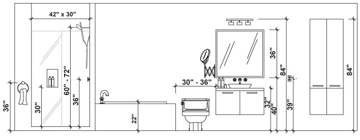 Single Vanity Light Height Google Search Bathroom Dimensions