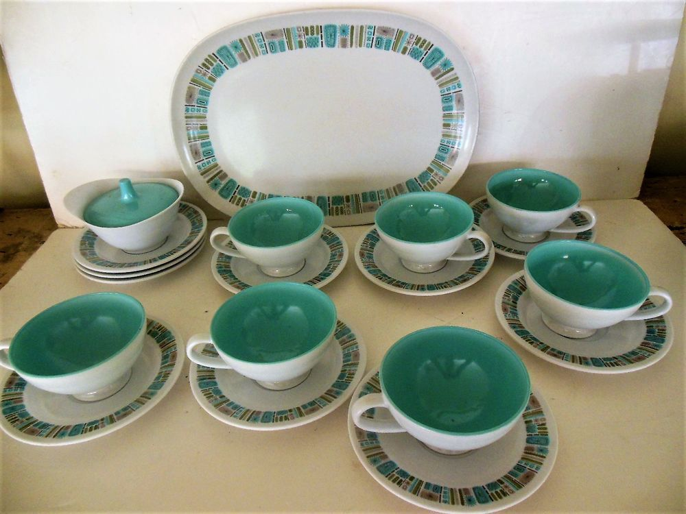 Texas Ware Melmac Dinnerware in the Mayan pattern also known as Atomic. One & Atomic Mayan Texas Ware Melmac Dinnerware PlatterCups Saucers ...