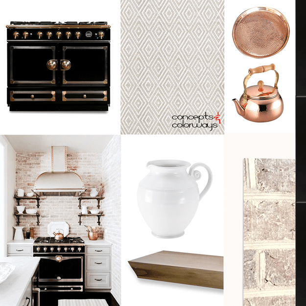 Vintage Style Kitchen Mood Board Interior Styling Ideas Design Inspiration Hammered Copper