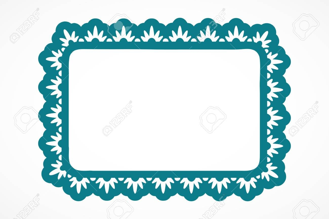 One rectangle teal ornate frame isolated over white background