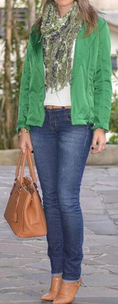 Jeans caramelo verde
