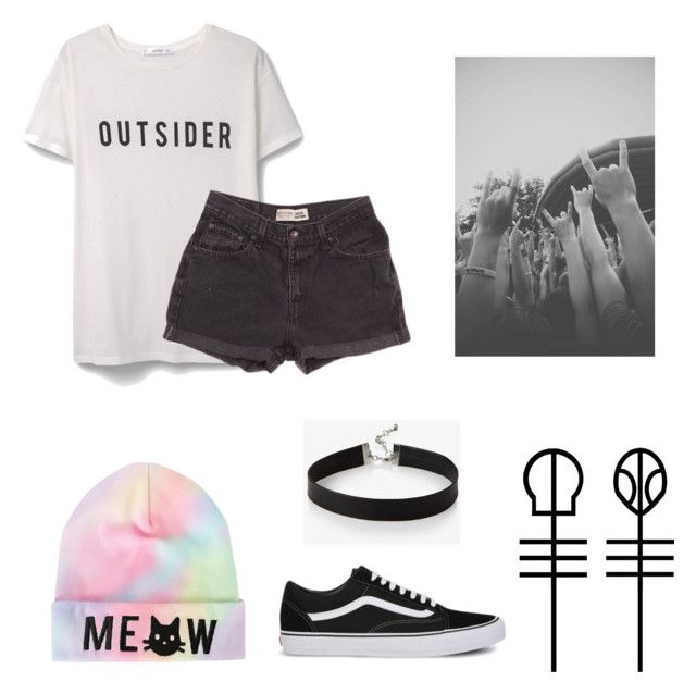 """Outsider"" by rossandharry ❤ liked on Polyvore featuring MANGO, Levi's, Vans and Silver Lining"