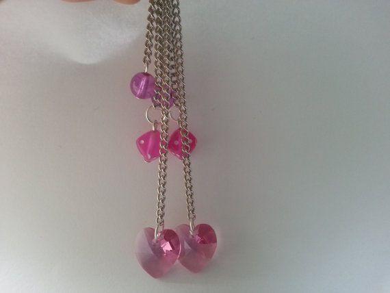 Swarovski Pink Heart Dangle Earrings by MsRetroDesigns on Etsy, £12.99
