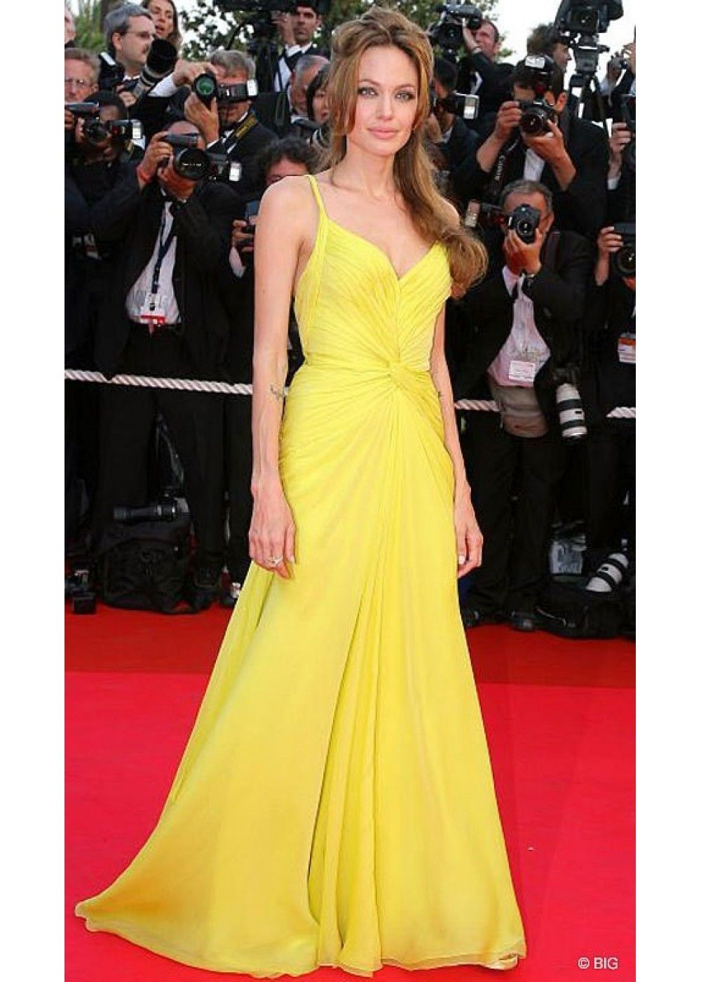 Angelina jolie yellow red carpet dress at cannes film festival