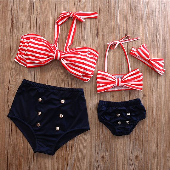 Mom and Me Matching Two Piece Sailor Nautical Swimwear