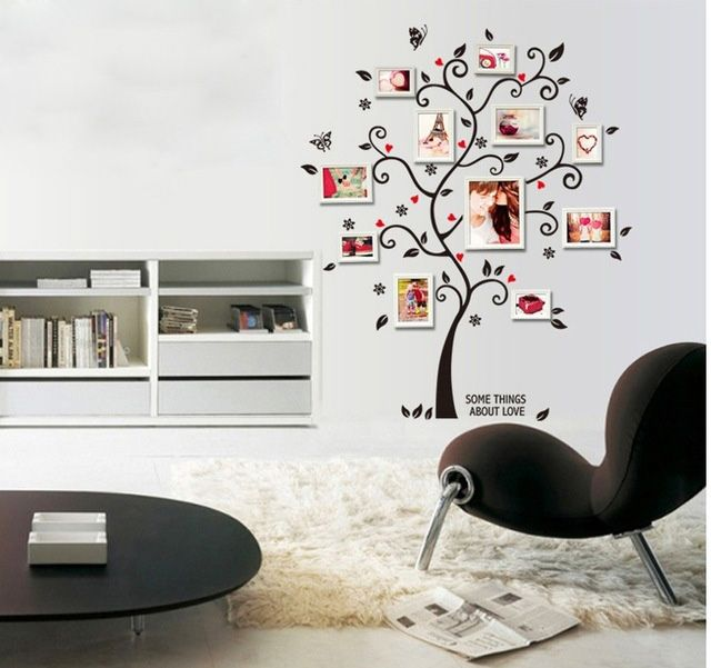Online Black Photo Tree Wall Stickers Stencil Piture Frame Family Vinyl Paper Decals Home Dorm Office Clroom Ideas Decor