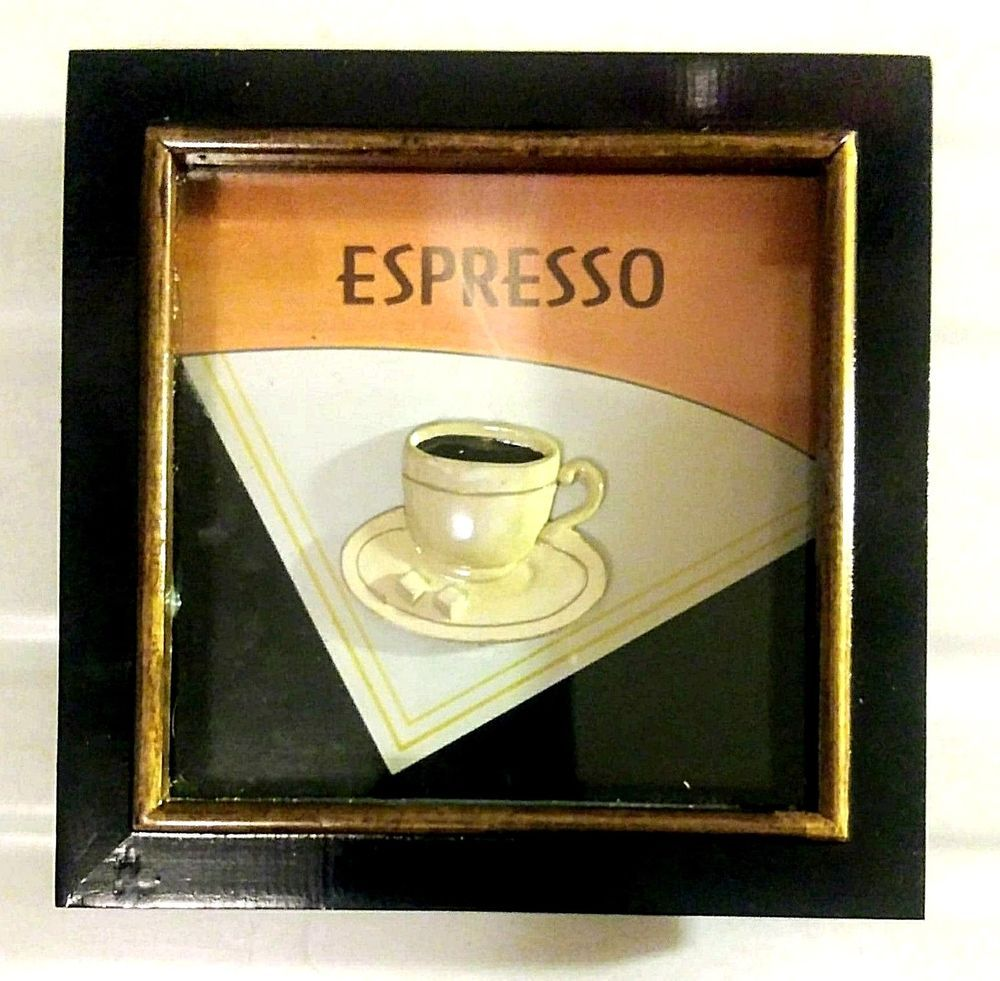 Framed Latte Expresso Coffee Wall Hanging Shadow Box Cafe Kitchen ...