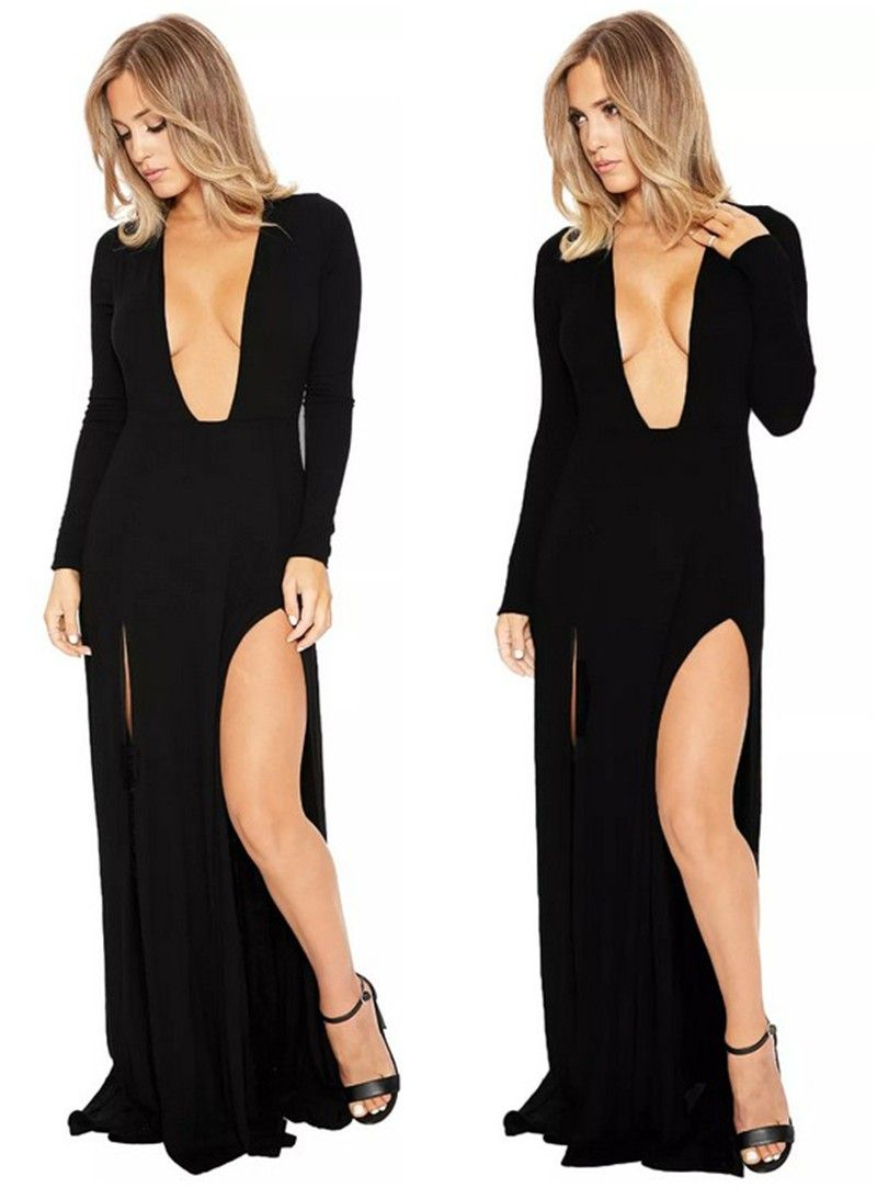 Sexy plunging neckline high slit long sleeve black jersey club