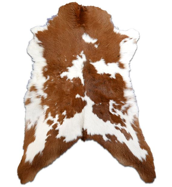 E 212 Long Haired Brown And White Mini Cowhide Rug By Cowhidesusa