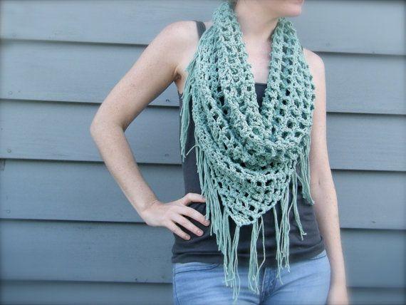 DIY Crochet Pattern: summer scarf, triangle scarf, bandana scarf, fringe, lig...