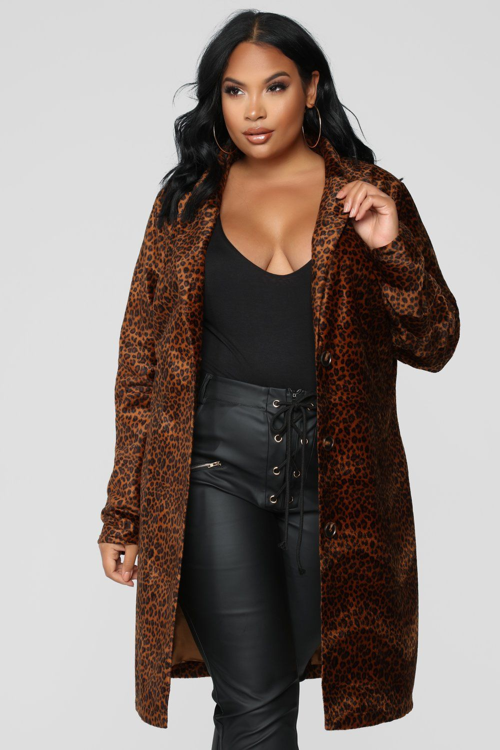 Roar Around Faux Fur Coat Brown Brown faux fur coat