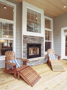 Image Result For Cabin Fireplace See Through From Family Room To 4 Season Porch