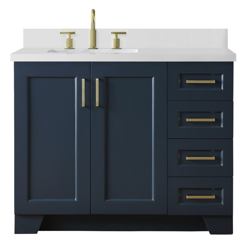 Ariel 43 In W X 22 In D Bath Vanity In Midnight Blue With Quartz Vanity Top In White W Left Offset White Rectangle Basin Q43slb Wqr Mnb The Home Depot Blue Bathroom [ 1000 x 1000 Pixel ]