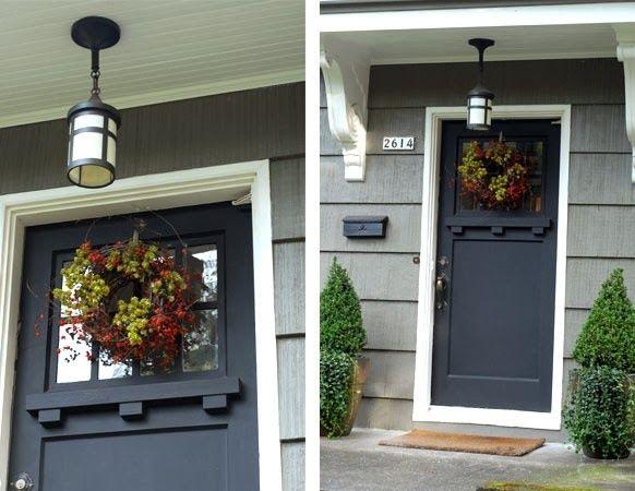 Black Craftsman Style Front Door