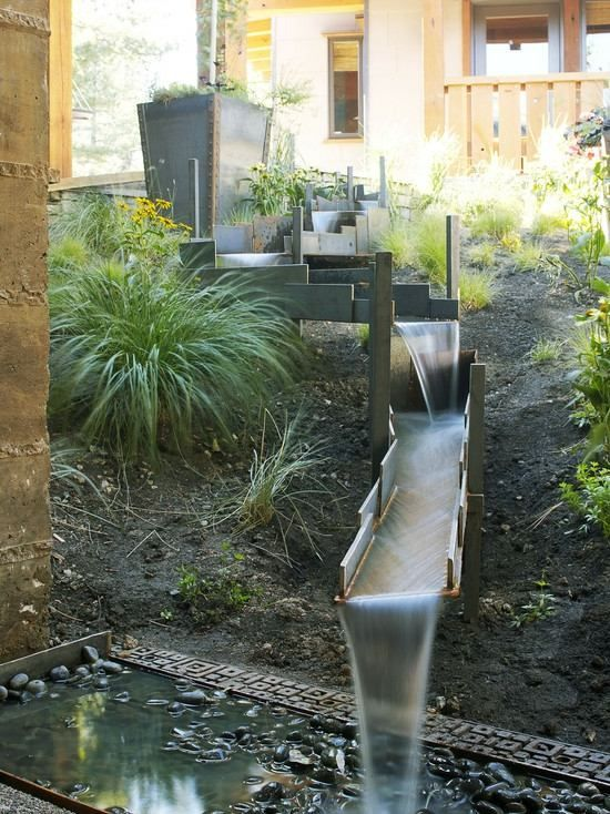 Edelstahl Bachlaufschalen Wasserspiele Garten Hang Lage Moderne Gestaltung