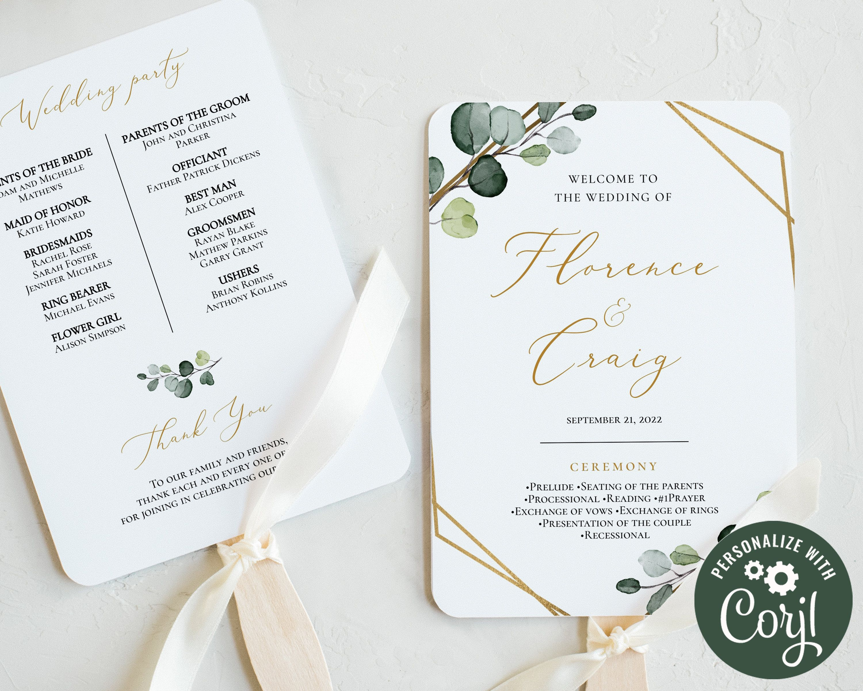 Wedding Program Fan Template Greenery Eucalyptus Fan Wedding Etsy In 2020 Wedding Program Fans Wedding Fans Printable Wedding Invitations