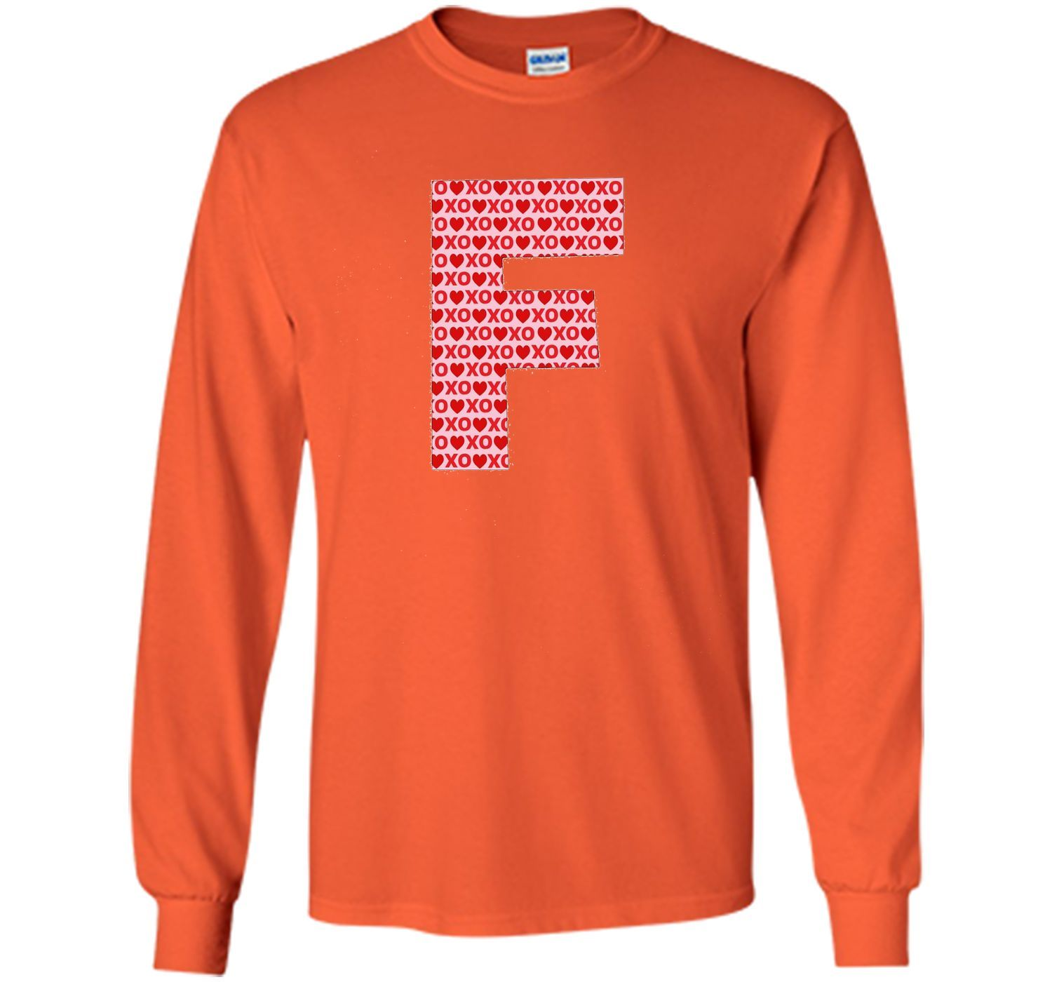 Valentines Day Capital Letter F Alphabet Initial Tshirt