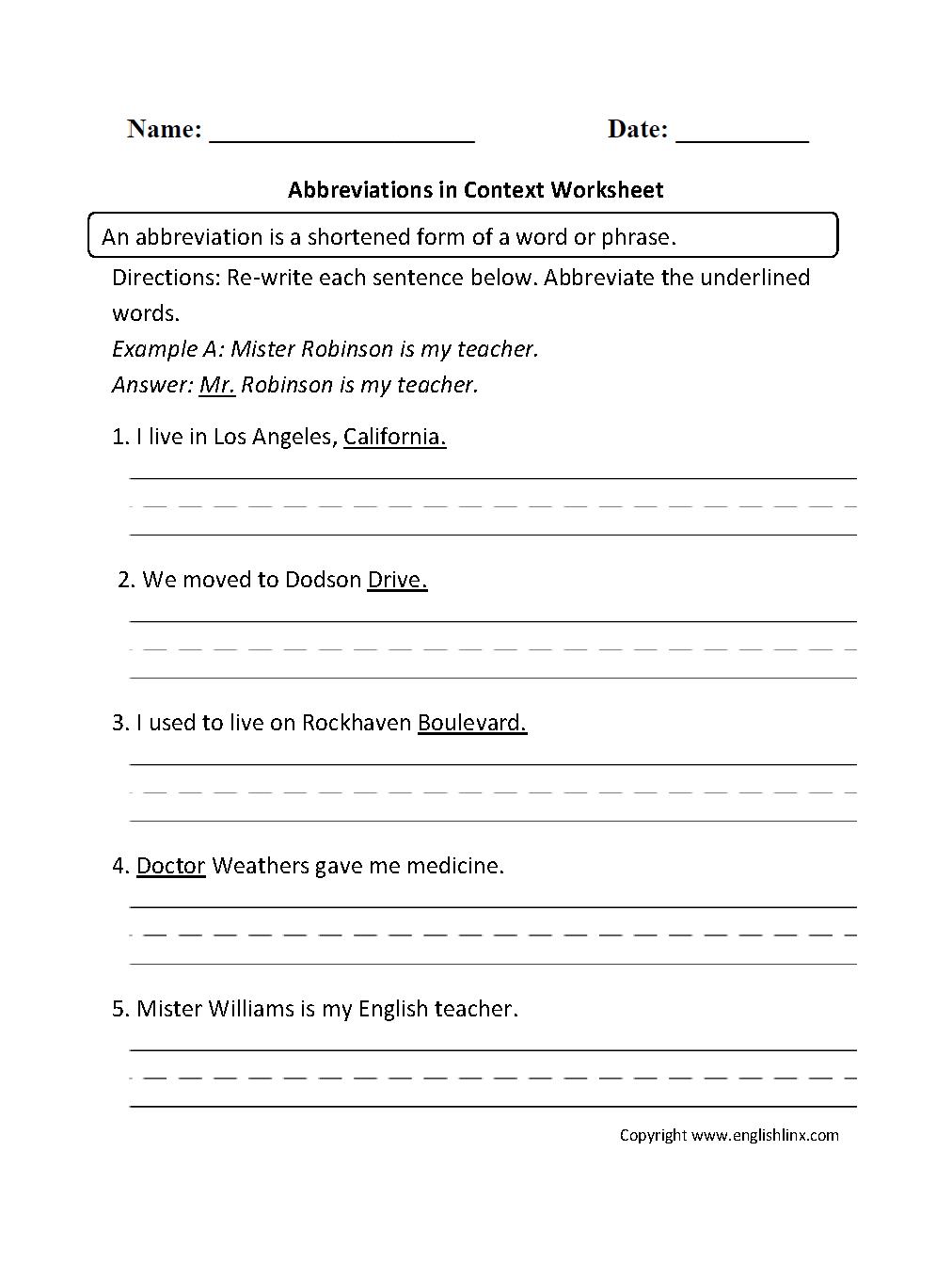 Abbreviations in Context Worksheet   2nd grade worksheets [ 1342 x 1012 Pixel ]