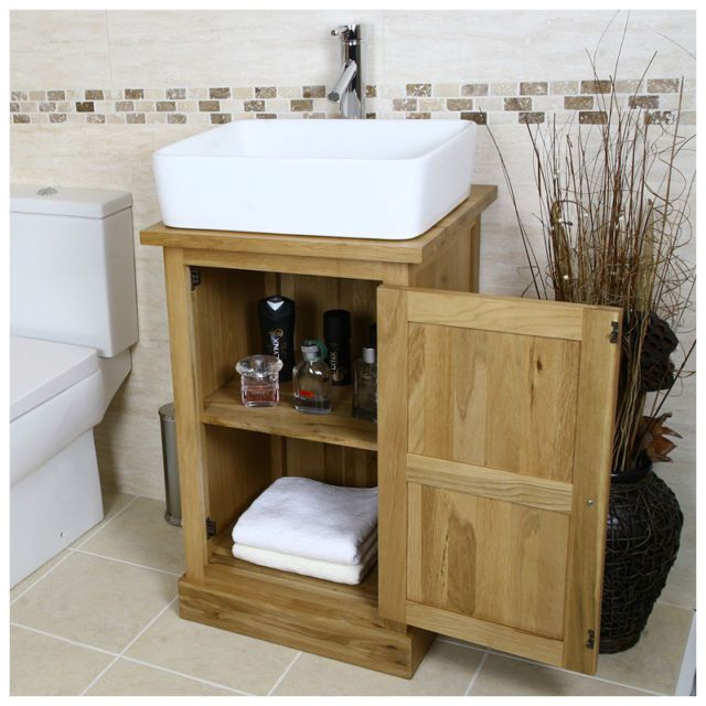 Oak Vanity Unit | Solid Oak Cabinet With Basin Sink Tap | Bathroom  Furniture 309 |