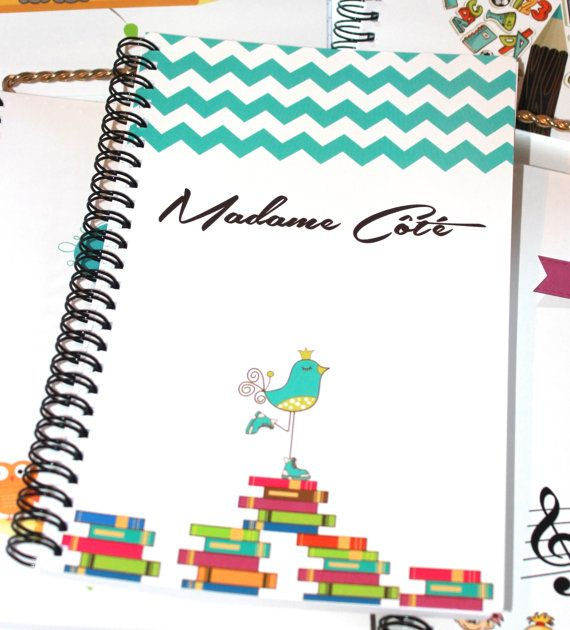 Personalized Fun Notebooks with cute turquoise bird by TIPgifts