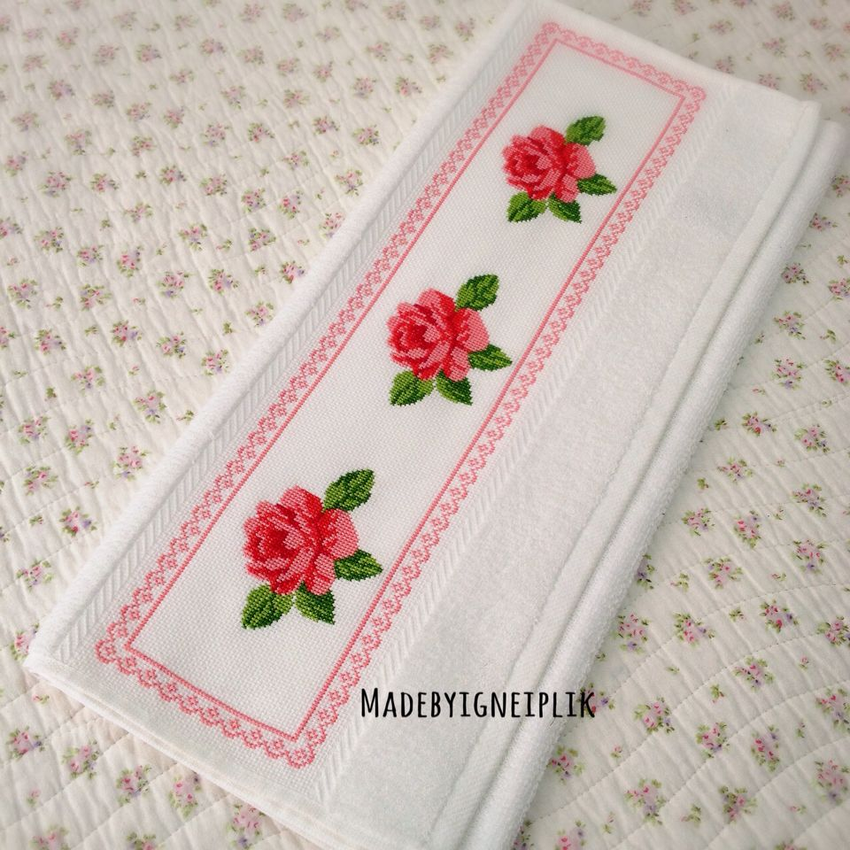 Rose Embroidered Towels: Cross Stitch Towels / Rose