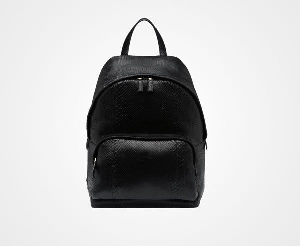Prada BACKPACK 3900 EUR. Python leather backpack Black titanium finish  hardware Enamel triangle logo outside