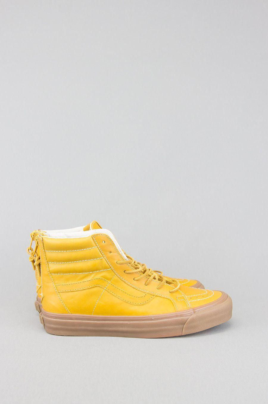 Vans vault sk8 hi reissue zip lx leather golden yellow  5cc1385726