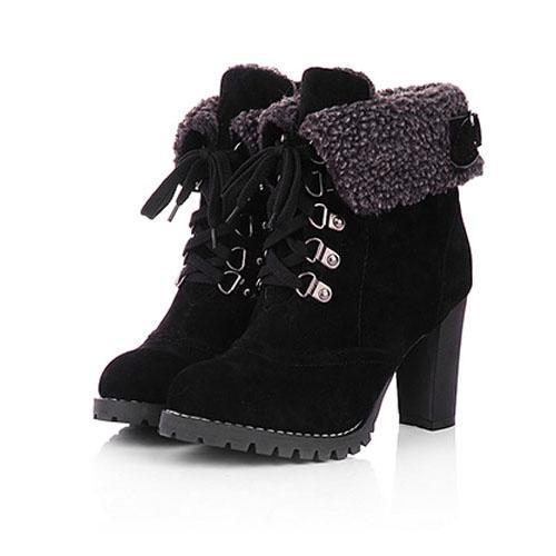 High Heel Boots Warm Cotton Women Shoes
